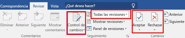 control de cambios MS Word